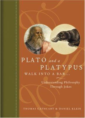 Book cover for Plato and the Platypus, showing the philosopher in a left-facing profile and the mammal in a right-facing profile. The rest of the cover imitates an old and elegant half-calf tome from the turn of the last century.