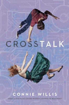 Book cover: Woman in a green dress falling, man trying to catch her is also falling. The cover is purple, the is woman nearer the bottom of the book and the is man nearer the top.