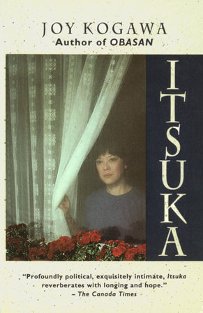 Book cover: A young Asian girl holds a net curtain and looks sadly out a window. The title of the book appears vertically, on the right-hand side of the image, in an Asian-flavoured font.