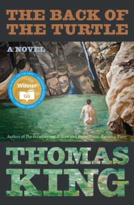 Book cover: Back view of a naked woman swimming in a pool of water next to a waterfall in a rocky canyon.