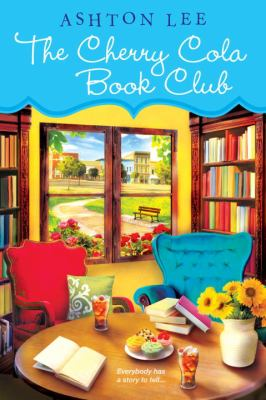 Book cover: Shows a very colourful library scene with big armchairs, tea, flowers and food next to an open book.